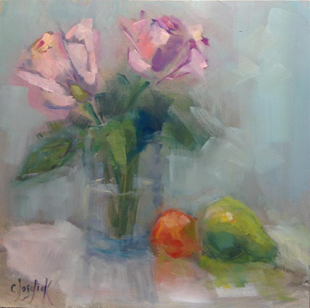 """Pink Roses #3"" original fine art by Carol Josefiak"
