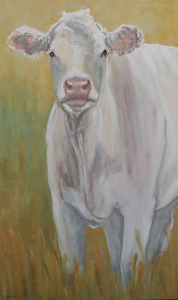 """""""Really big cow"""" original fine art by Carol Carmichael"""