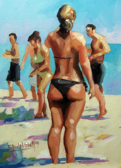 """No 546 Beach Bums"" original fine art by Robin J Mitchell"