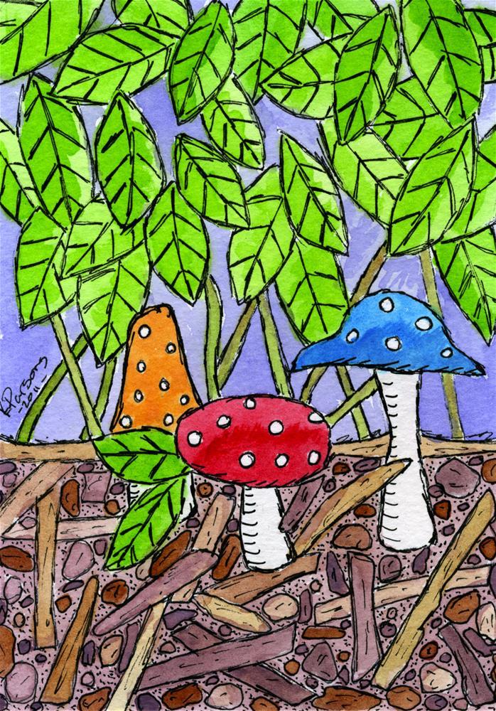 """Three Polka Dot Mushrooms"" original fine art by Kali Parsons"