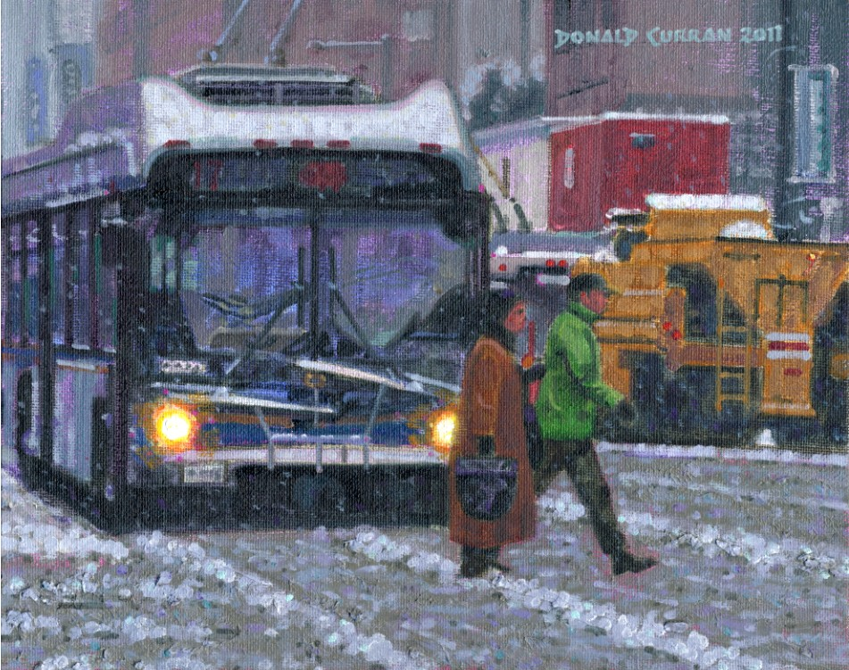 """Snowy Toronto Street"" original fine art by Donald Curran"