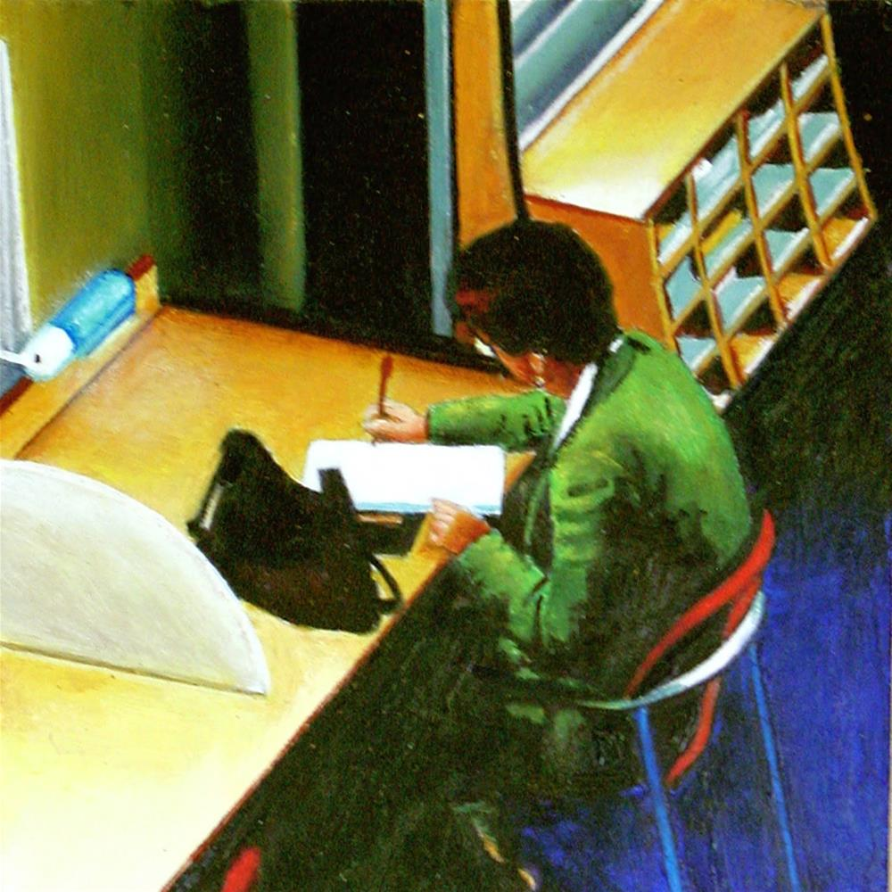"""Notes- Woman Taking Notes In Library"" original fine art by Gerard Boersma"