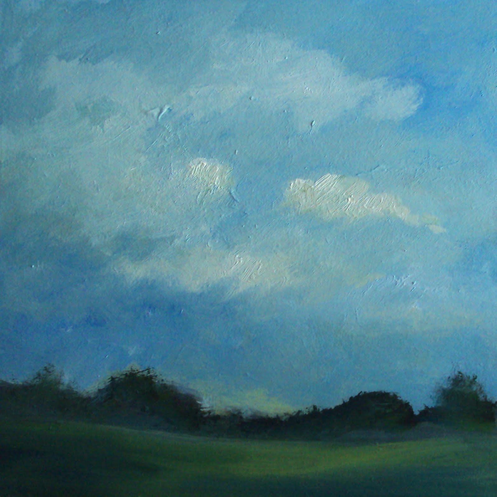 """""""white clouds over the farmland"""" original fine art by Parastoo Ganjei"""