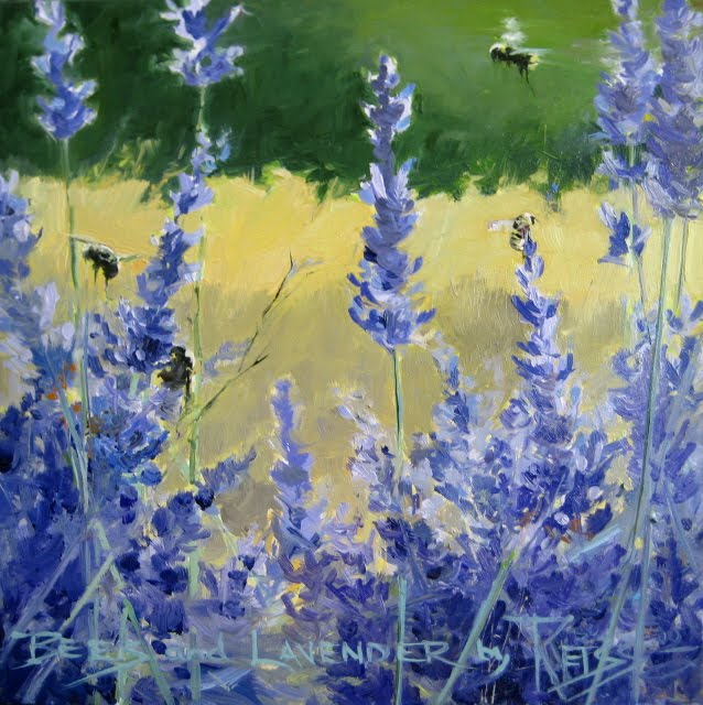 """Bees on Lavender  daily painting"" original fine art by Robin Weiss"