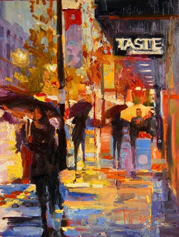 """Taste Restaurant  Seattle cityscape painting by Robin Weiss"" original fine art by Robin Weiss"