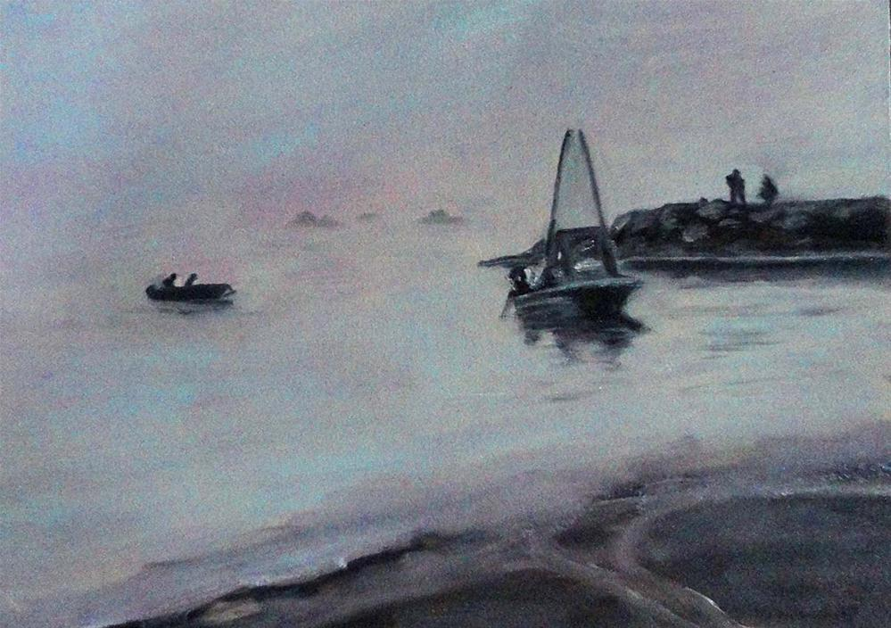"""Foggy Morning Fishing"" original fine art by Cietha Wilson"