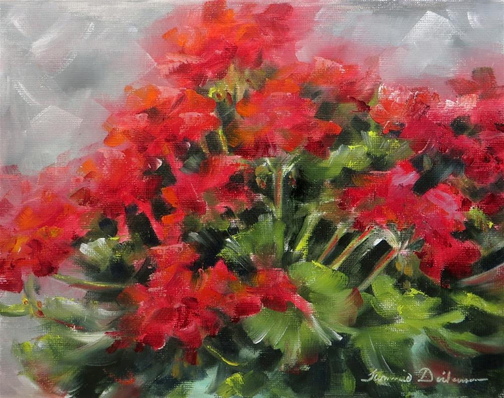 """Mom's Geraniums"" original fine art by Tammie Dickerson"