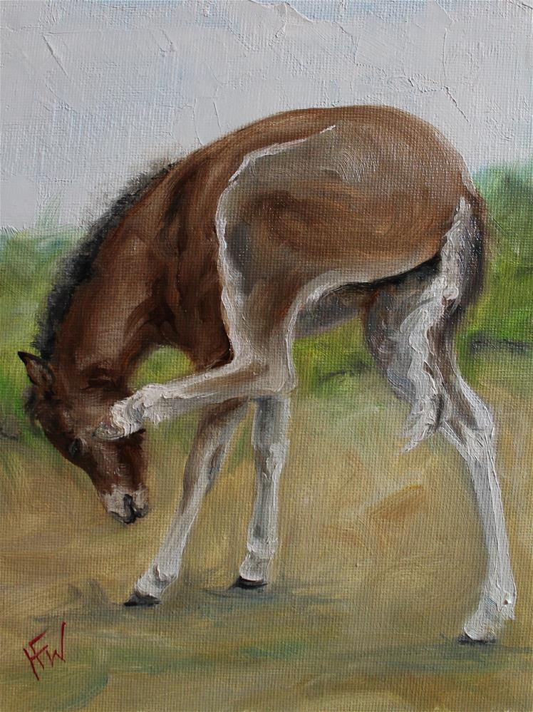 """A Little Itch"" original fine art by H.F. Wallen"