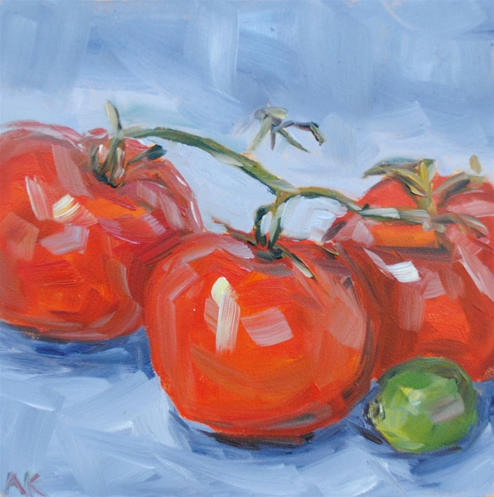 """Tomatoes and Lime"" original fine art by Alison Kolkebeck"