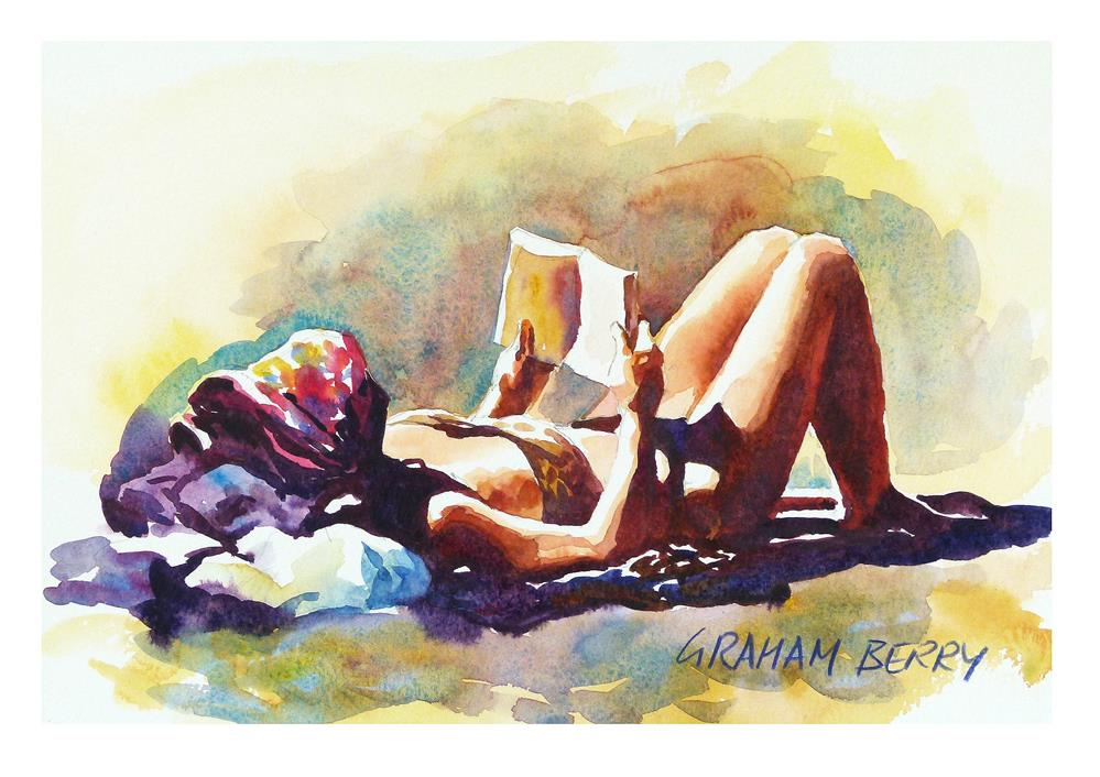 """Reading on the beach"" original fine art by Graham Berry"