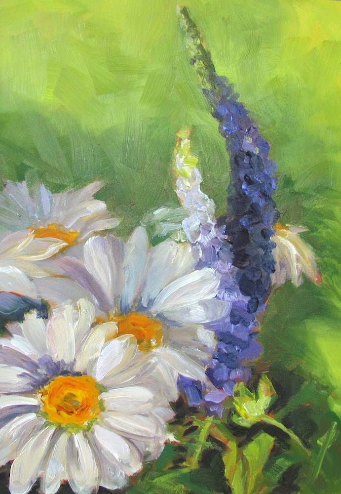 """Daisies and Veronica on Green"" original fine art by Lynne Schulte"