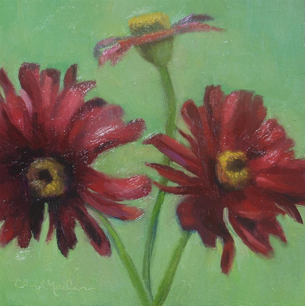 """""""Zinnias"""" original fine art by Cheryl Meehan"""