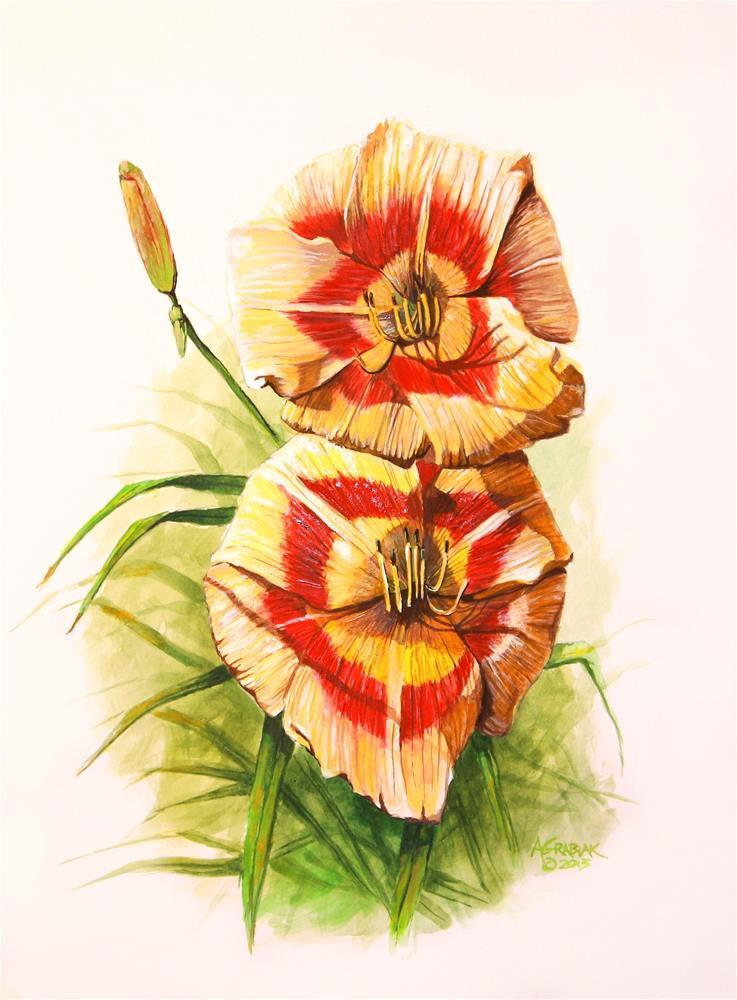 """""""'Streaker' Daylilies"""" original fine art by Aaron Grabiak"""