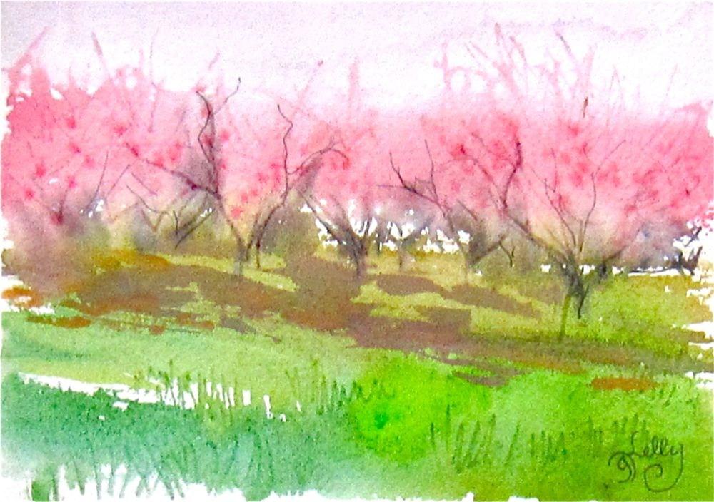 """Spring Orchard by Gretchen Kelly, New York Artist"" original fine art by Gretchen Kelly"