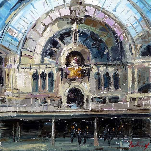 """""""Eisenbahn Kathedrale von Antwerpen"""" original fine art by Jurij Frey"""
