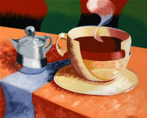 """Mark Webster - Abstract Rough Futurism Coffee Cup Still Life Oil Painting"" original fine art by Mark Webster"