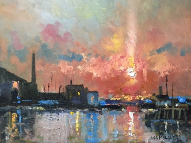 """""""Sunset Along the Waterfront"""" original fine art by William  McLane"""