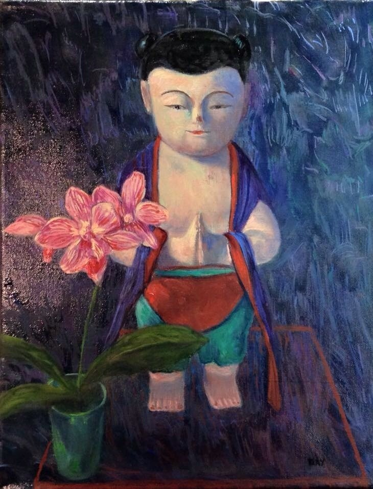 """BUDDHA BOY WITH ORCHID"" original fine art by barbara yongue"