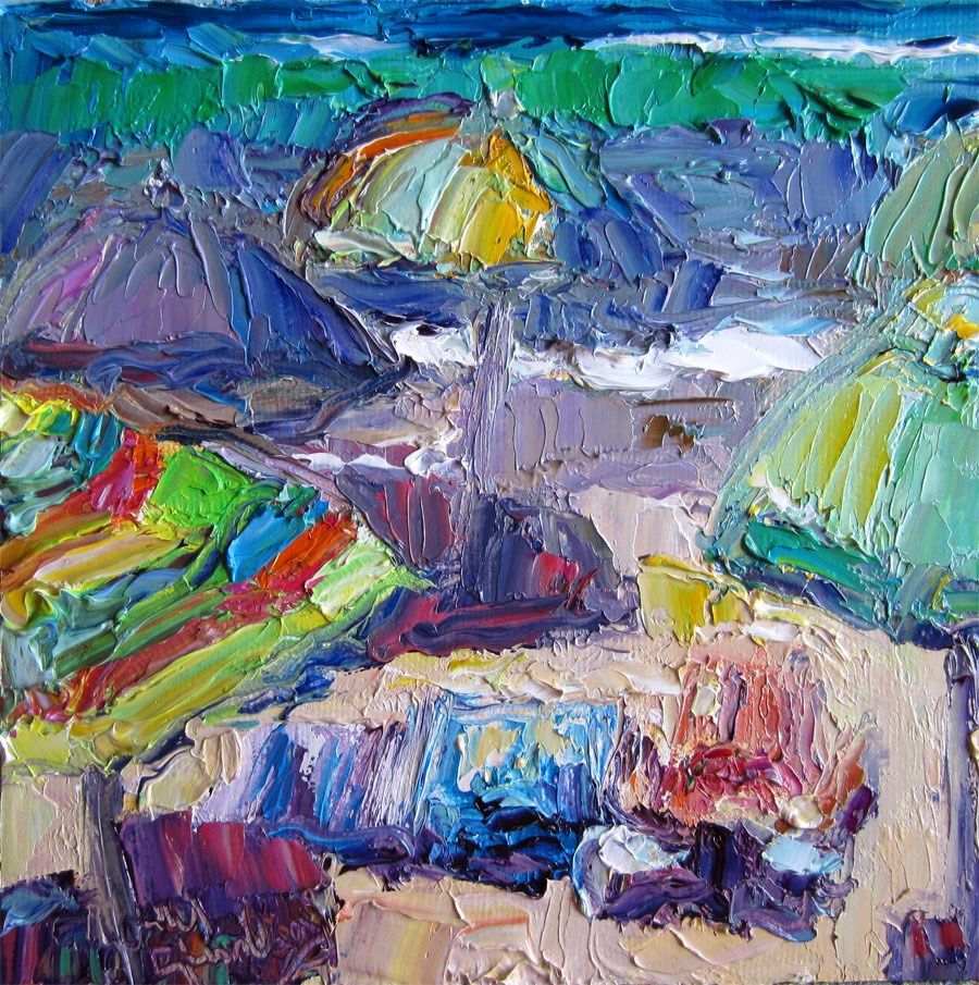 """Crowd of Umbrellas"" original fine art by Carol Steinberg"