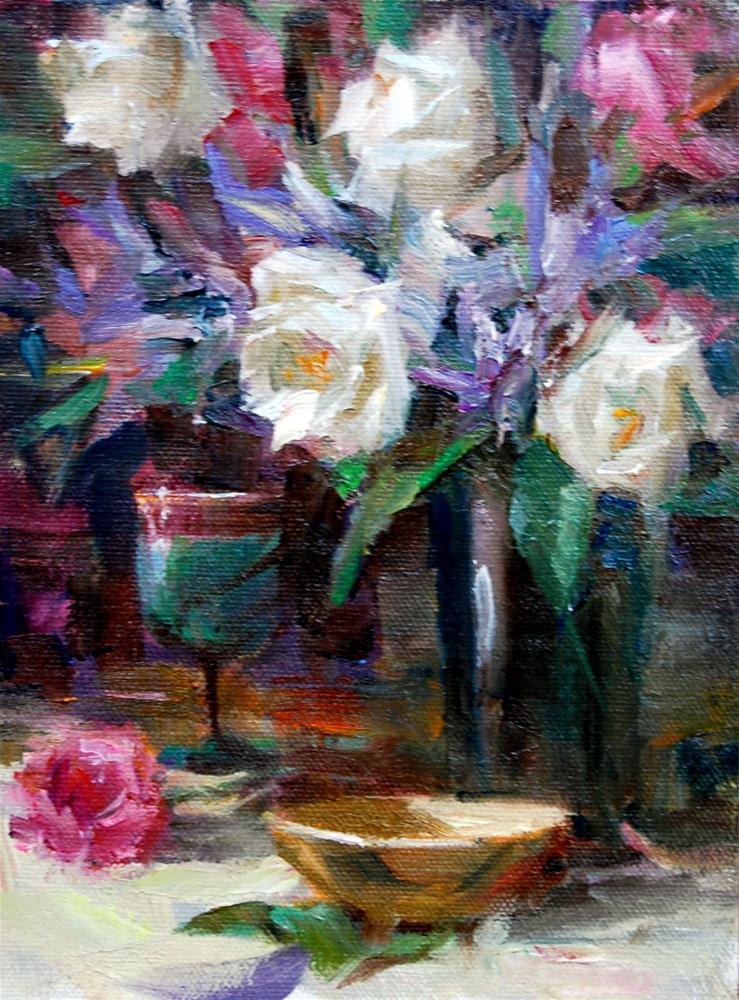 """Wine and Roses"" original fine art by Julie Ford Oliver"