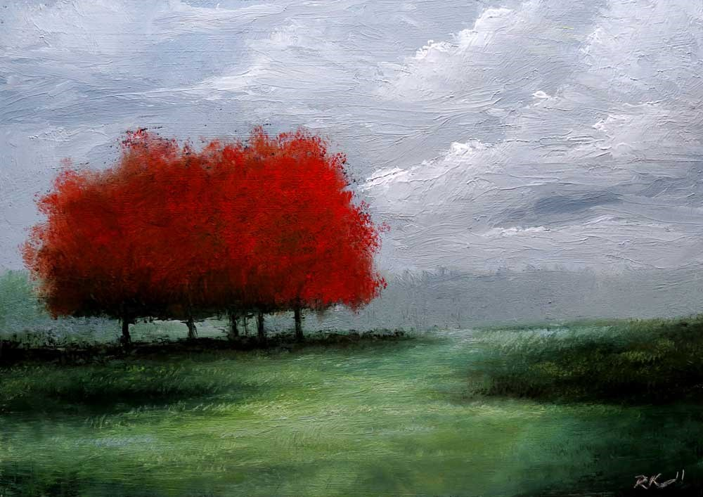 """A Group of Red Trees"" original fine art by Bob Kimball"