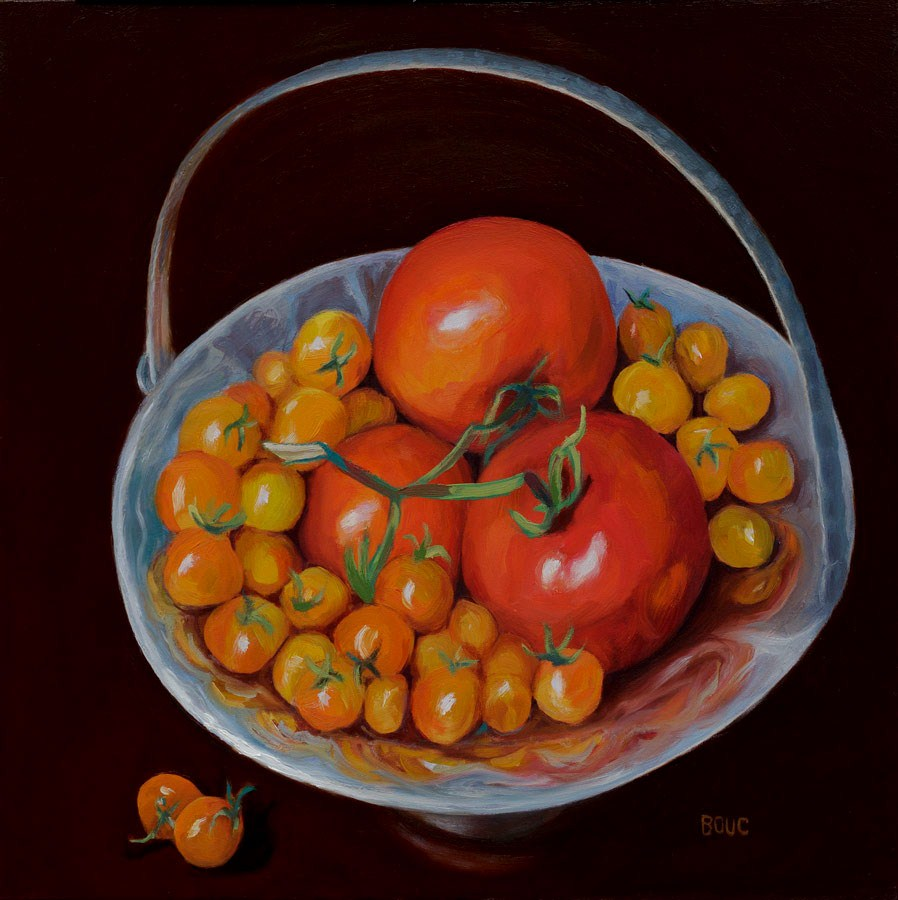"""Happy Boy Farms Tomatoes"" original fine art by Jana Bouc"