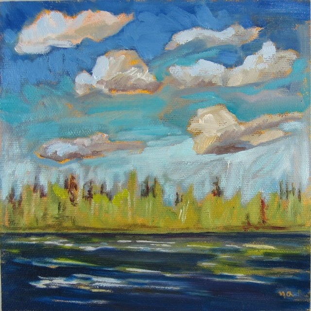 """Fast Moving Clouds, Mekewap Lake"" original fine art by Nicki Ault"