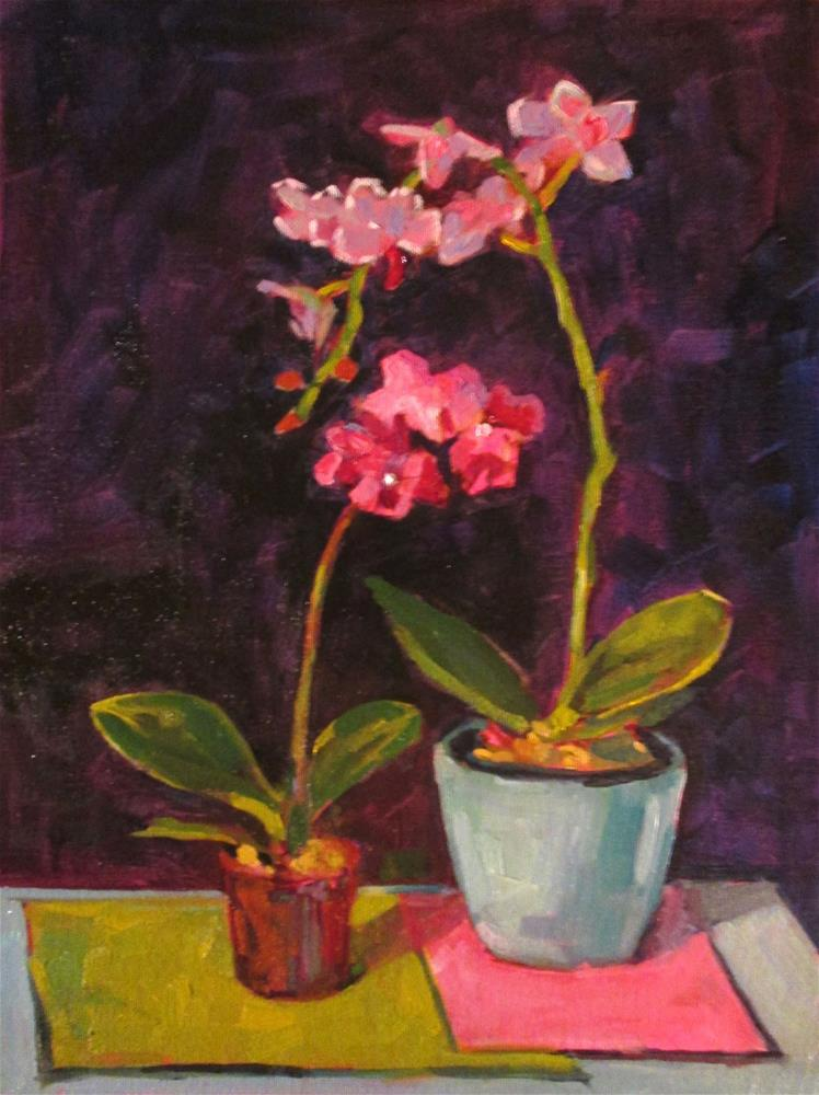 """Orchid Dance. 12x16 oil on canvas board."" original fine art by Mary Sheehan Winn"