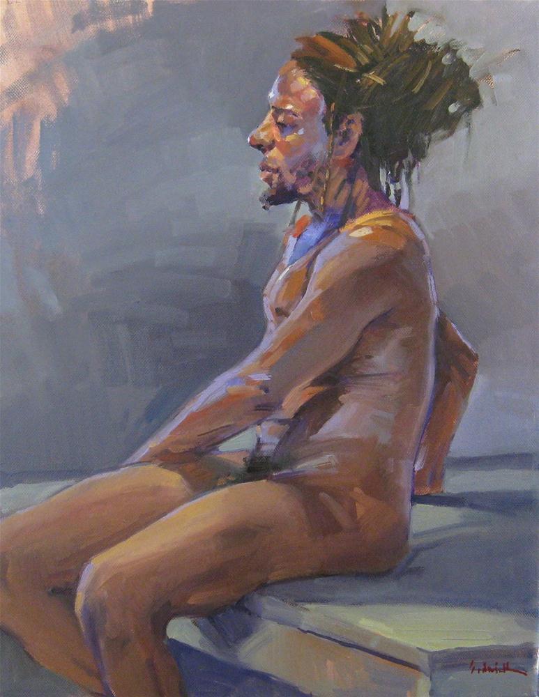 """In Cool Light Male nude figure painting original oil on canvas"" original fine art by Sarah Sedwick"