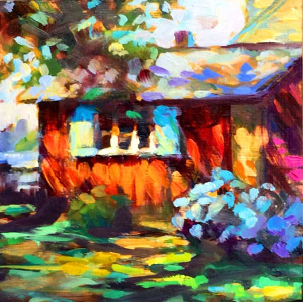 """Red House with Dappled Light /Comes in Black floater frame"" original fine art by Karen Bruson"
