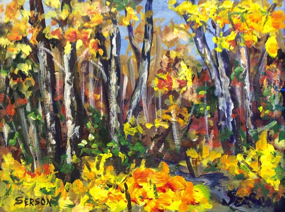 """""""Birches painting"""" original fine art by Sonia von Walter"""