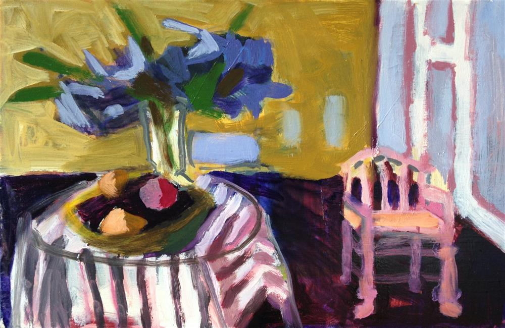 """Delphiniums and Pink Chair"" original fine art by Pamela Hoffmeister"