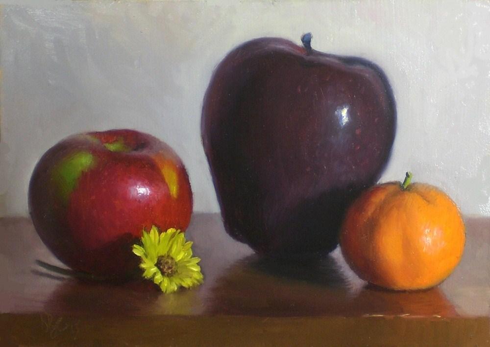 """Apples, Tangerine and Mum"" original fine art by Debra Becks Cooper"