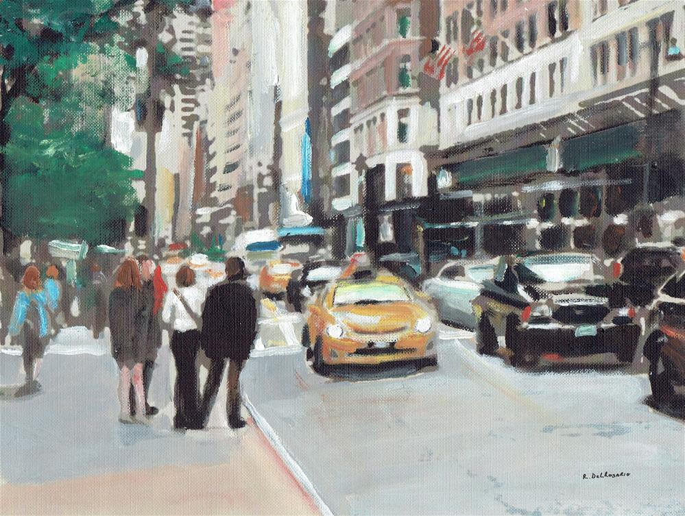 """Waiting for a Taxi (10.5 x 8.5 Oil on canvas sheet - no frame)"" original fine art by Ramon DelRosario"