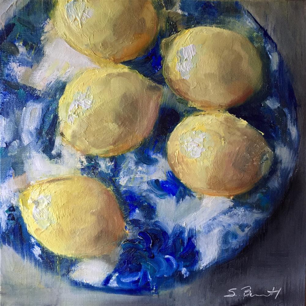 """""""French Blue and Lemons"""" original fine art by Sherri Burritt"""