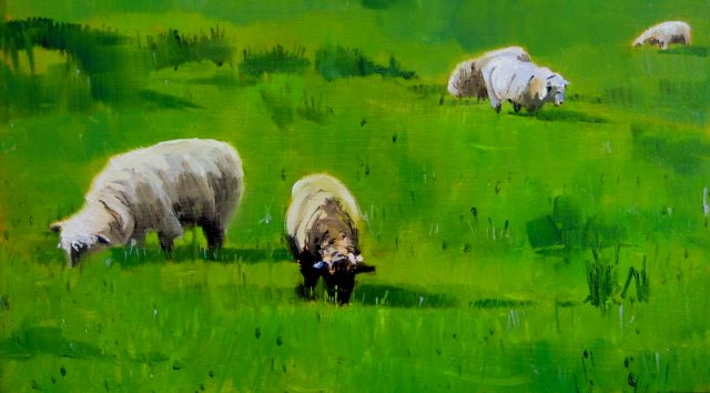"""""""Counting Sheep   oil landscape painting"""" original fine art by Robin Weiss"""