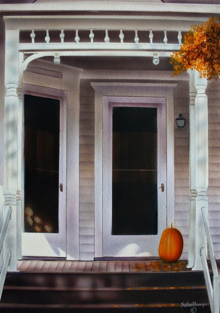 """October Porch"" original fine art by Fred Schollmeyer"