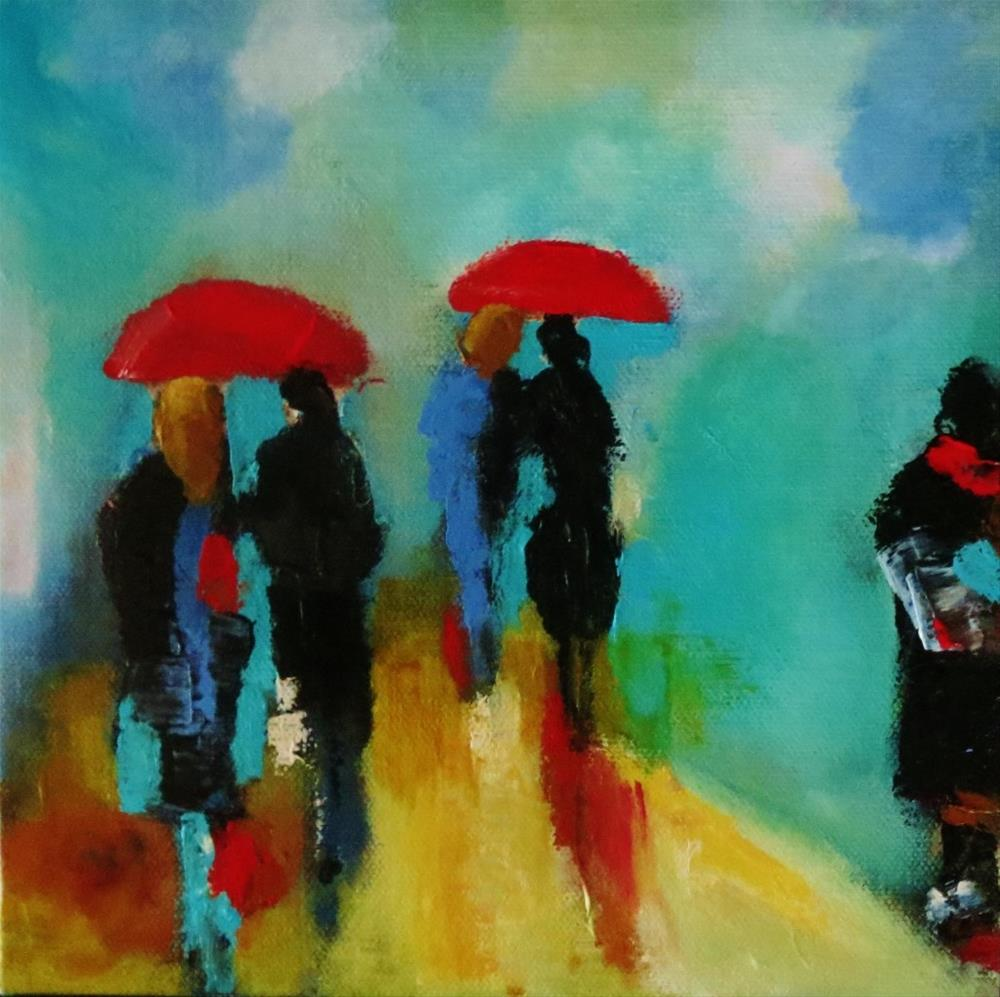 """Red umbrellas"" original fine art by Astrid Buchhammer"