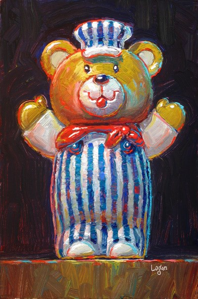 """Train Engineer Bear Toy"" original fine art by Raymond Logan"