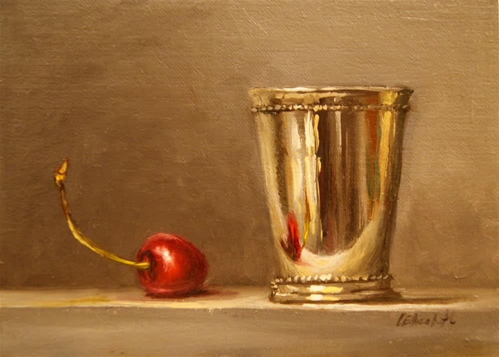 """Mint Julep Cup with Cherry,  Oil on 5x7 Linen Panel"" original fine art by Carolina Elizabeth"