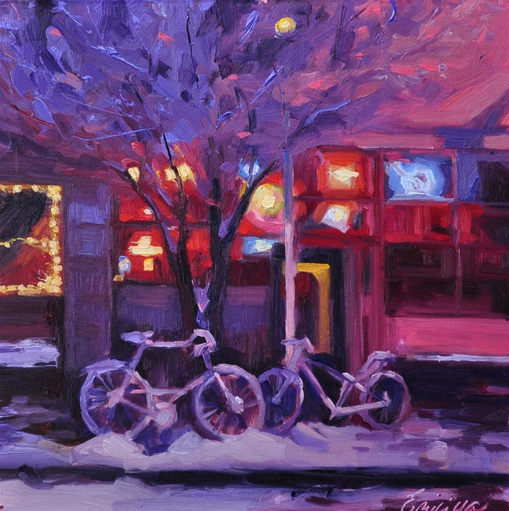 """""""Urban Nocturne  12 x12 oil on linen"""" original fine art by Emiliya Lane"""