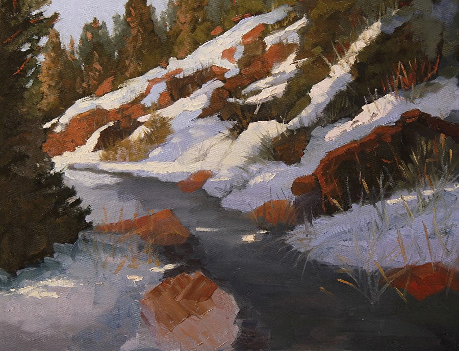 """Colorado Mountain Landscape Oil Painting, Bright Winter Day by Colorado Artist Susan Fowler"" original fine art by Susan Fowler"