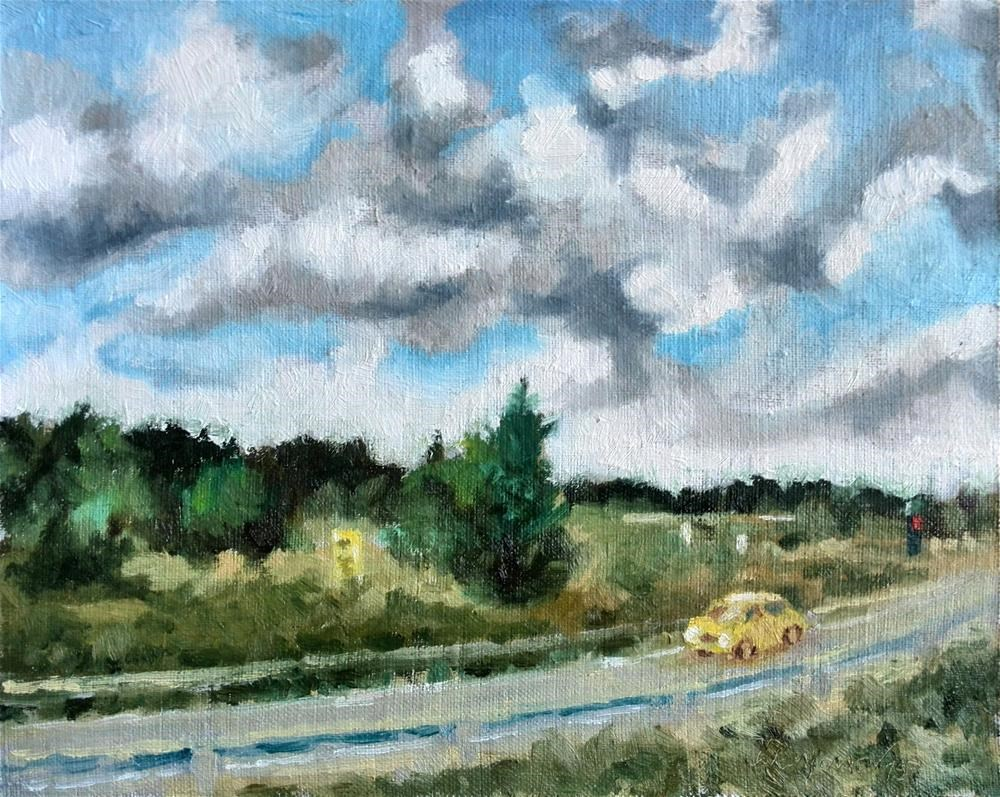 """yellow car"" original fine art by Juri Semjonov"