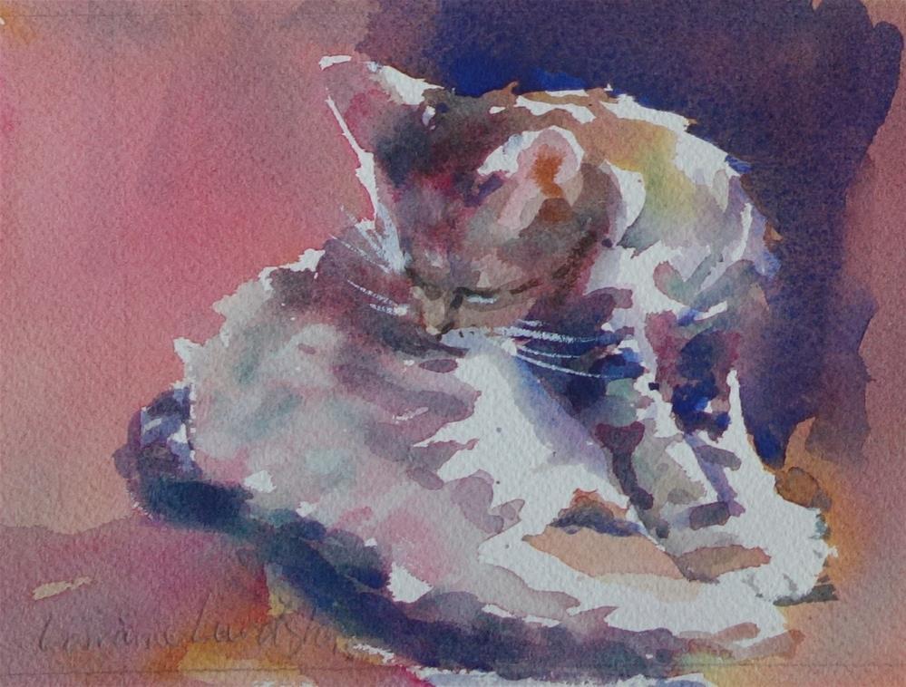 """Cleaning Cat"" original fine art by Lorraine Lewitzka"