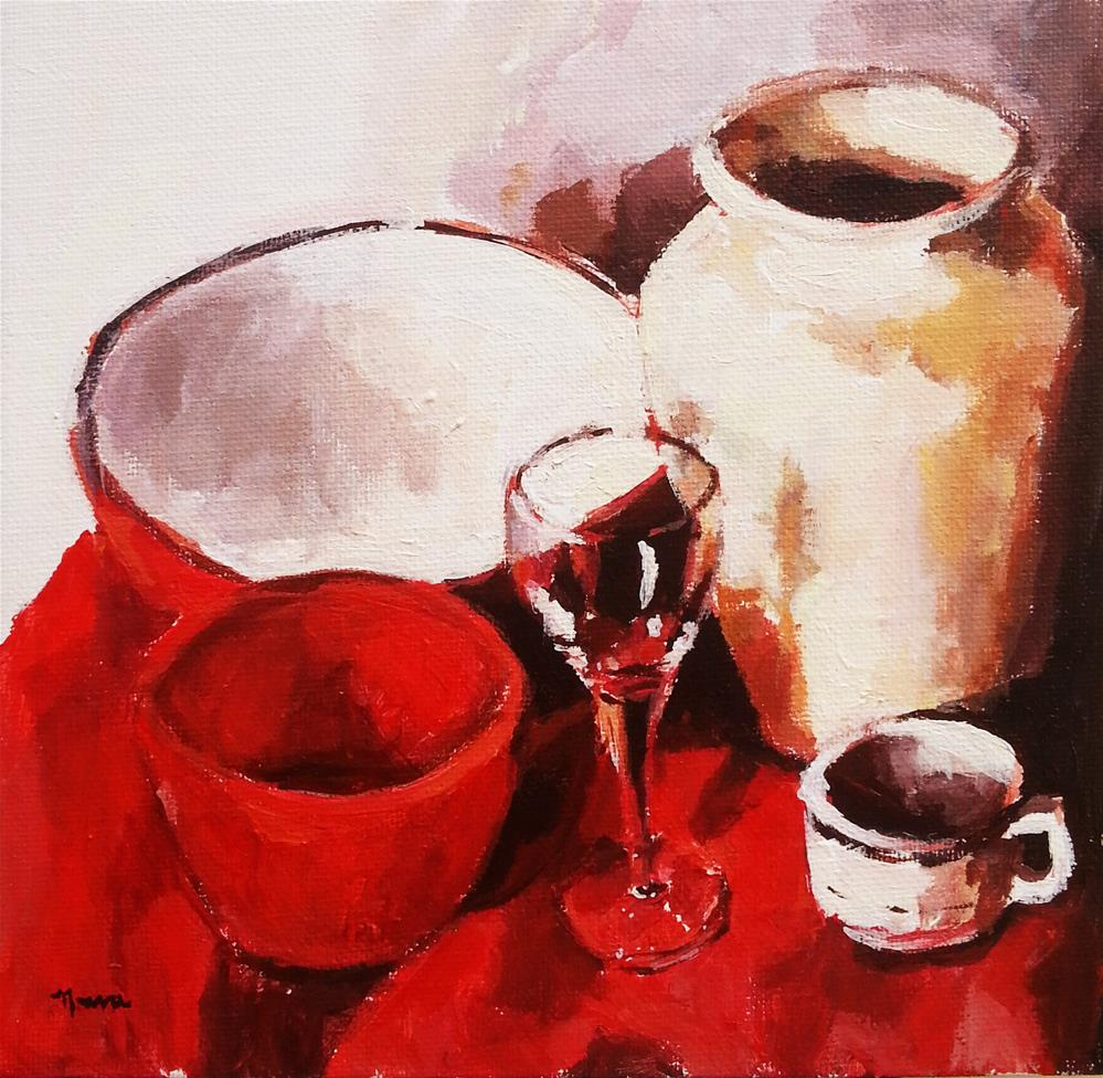 """Wine and Coffee in Red"" original fine art by Nava Judith"