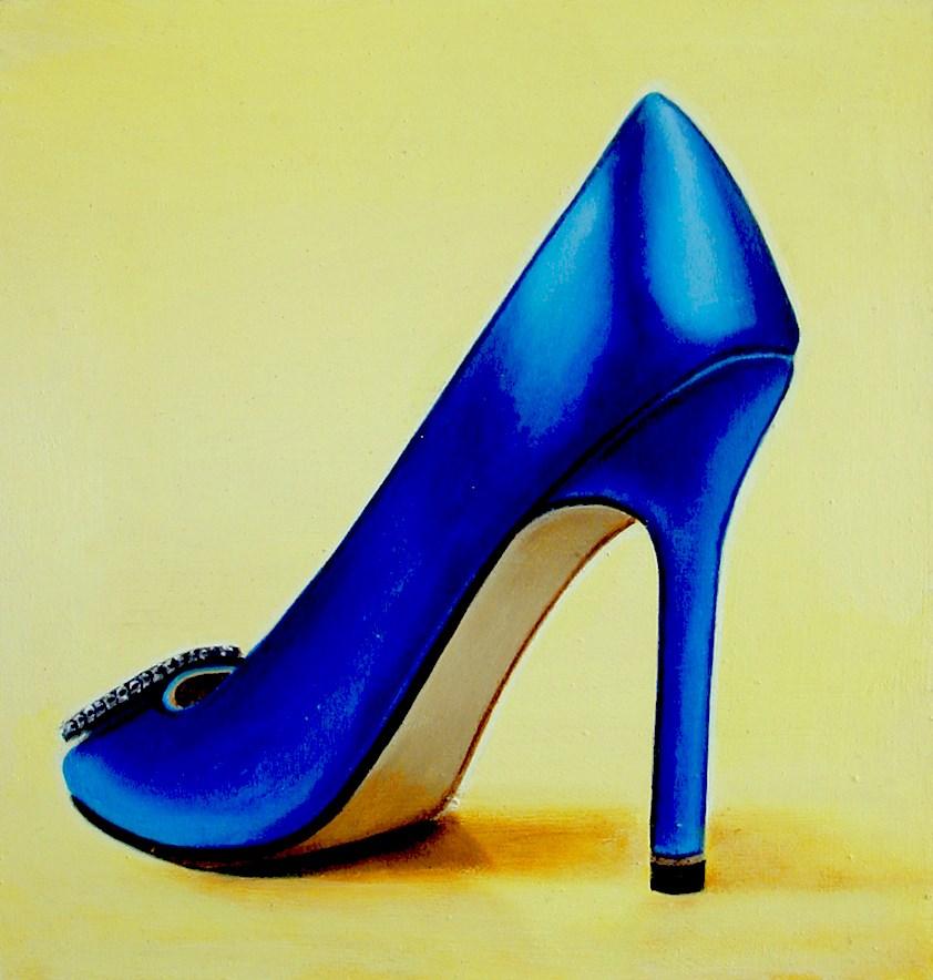 """Manolo Blahnik 2- Still Life Painting Of Women High Heels Blue Manolo Blahnik Shoe"" original fine art by Gerard Boersma"