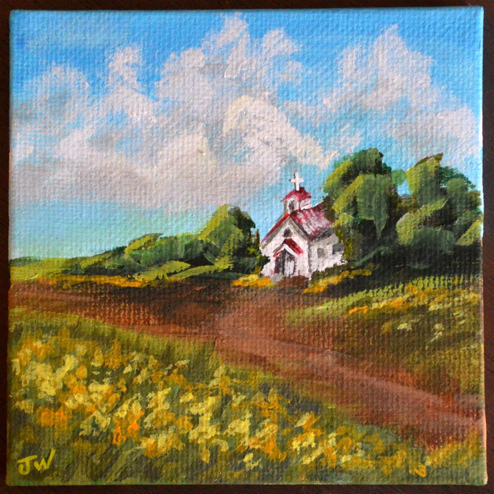 """Little Church in the Goldenrod"" original fine art by Jodi Workman"