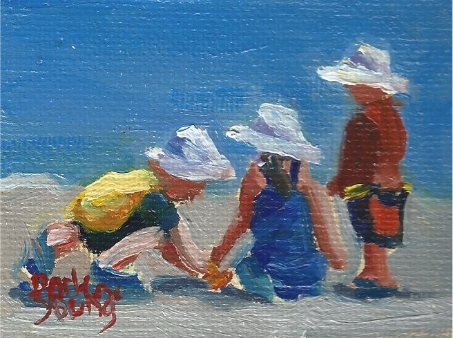 """949 Beach kids, miniature 2.5x3.5, oil on board"" original fine art by Darlene Young"