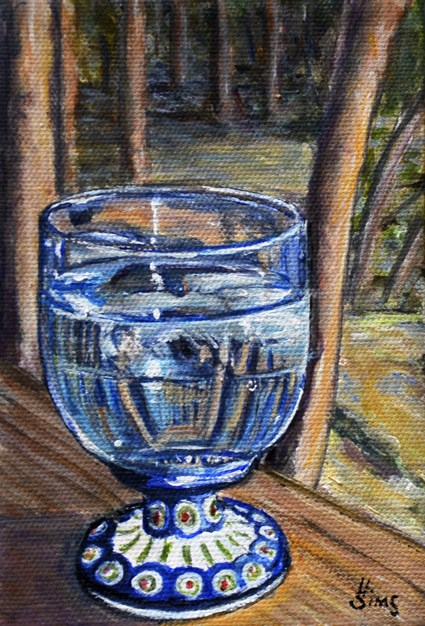 """Water Glass: Polish Pottery LXIII"" original fine art by Heather Sims"