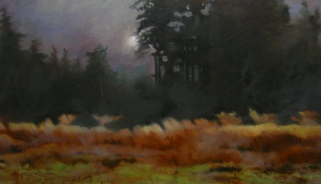 """Just at Dusk  landscape oil painting"" original fine art by Robin Weiss"